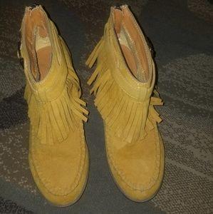 Shoes - Mustard fringe booties